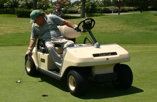 single rider golf car, single passenger golf carts, solo rider golf carts, on putting single rider golf cart