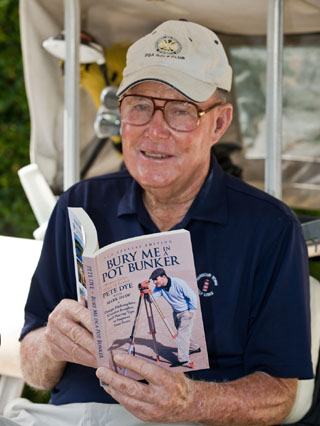 World renowned Golf course designer, Pete Dye and the new very special edition of his autobiography Bury Me In A Pot Bunker
